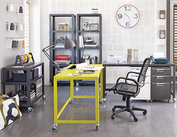 Practical and versatile go cart chartreuse desk