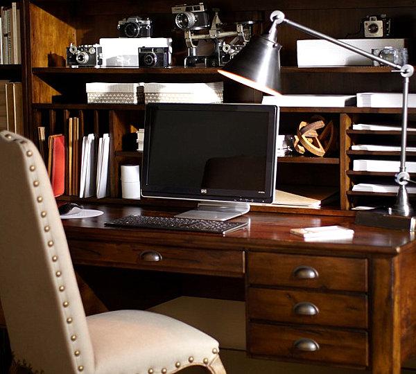 20 стильных офисных столов для домашнего компьютера: деревян.