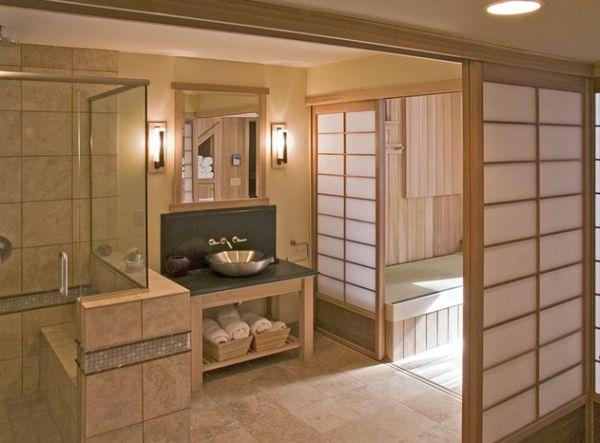 Прекрасная ванная комната в японском стиле