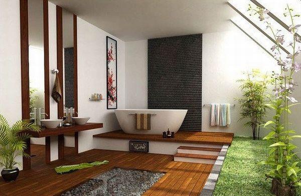 Красивая ванная комната в японском стиле