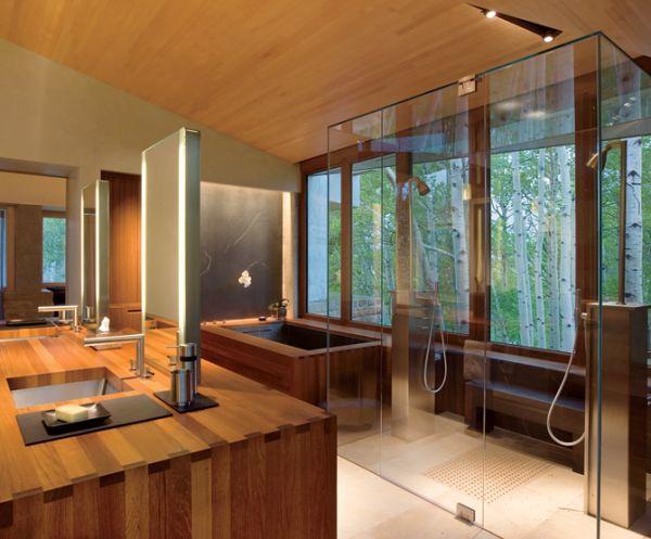 Прелестная ванная комната в японском стиле