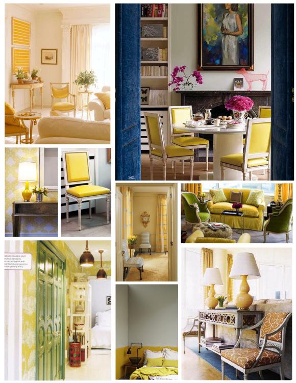 Желто-белое оформление интерьера