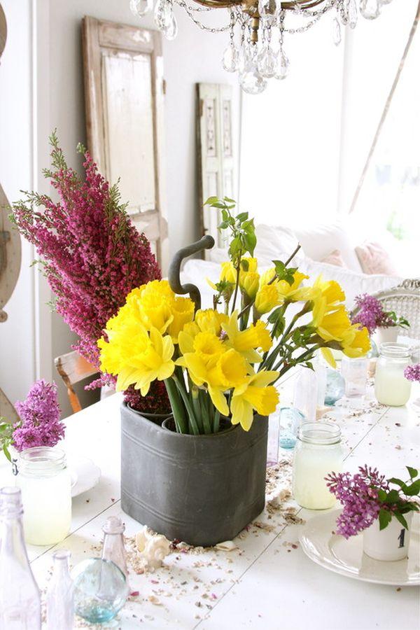 Цветы в интерьере столовой