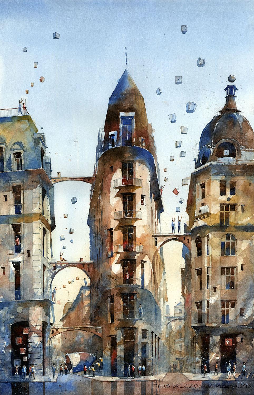 Архитектурные акварели с изображением Варшавы от польского художника Титуса Бжозовского