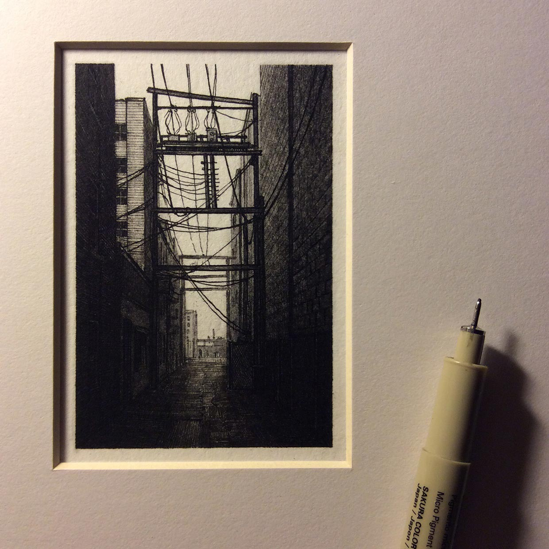 США, графика, чёрно-белый, городской, пейзаж, по Елена Ткач, миниатюры