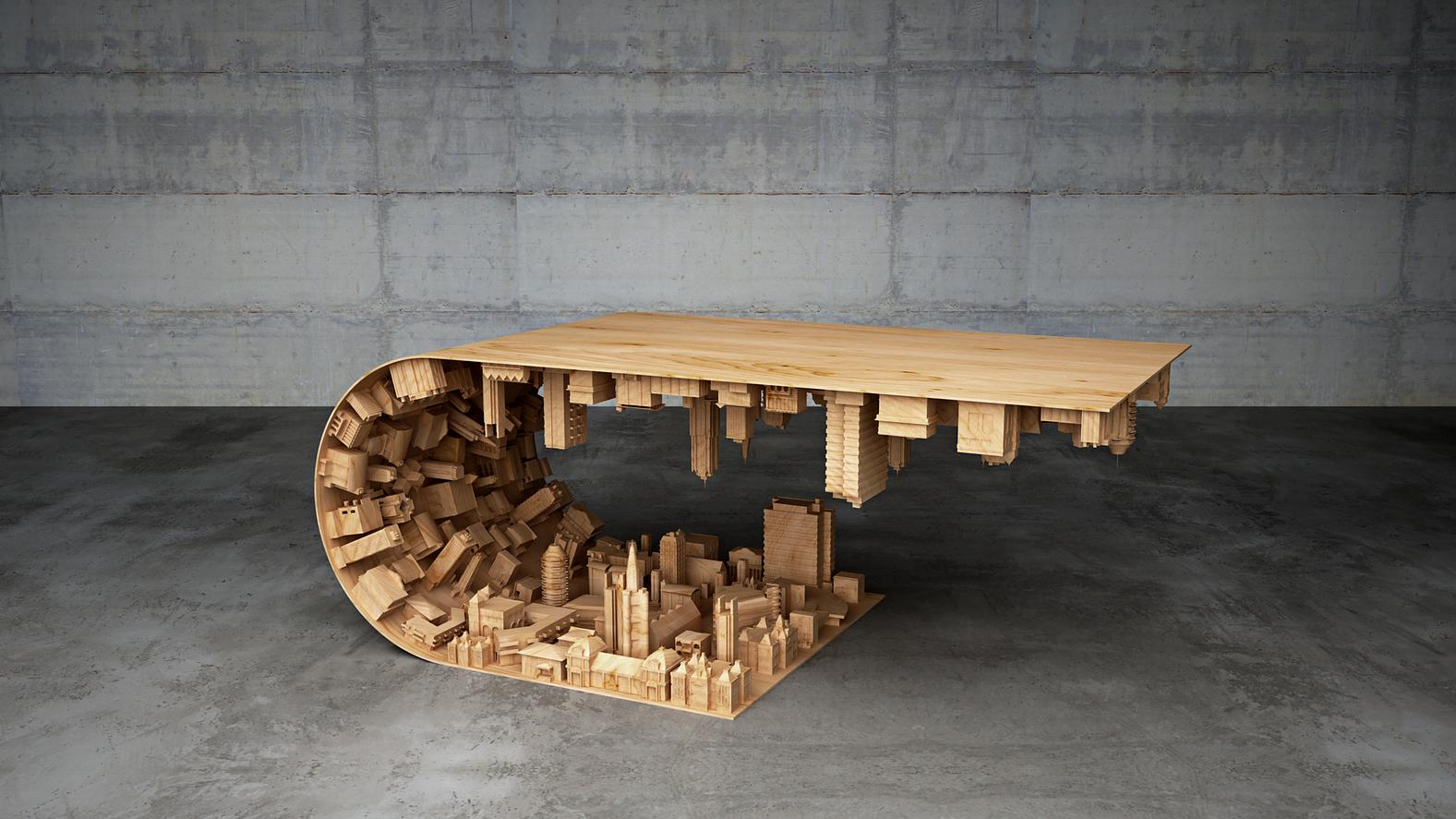 Дизайн журнального столика, имитирующий перевёрнутый городской ландшафт