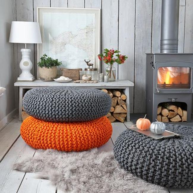 Оранжевый и серый цвет в дизайне интерьера