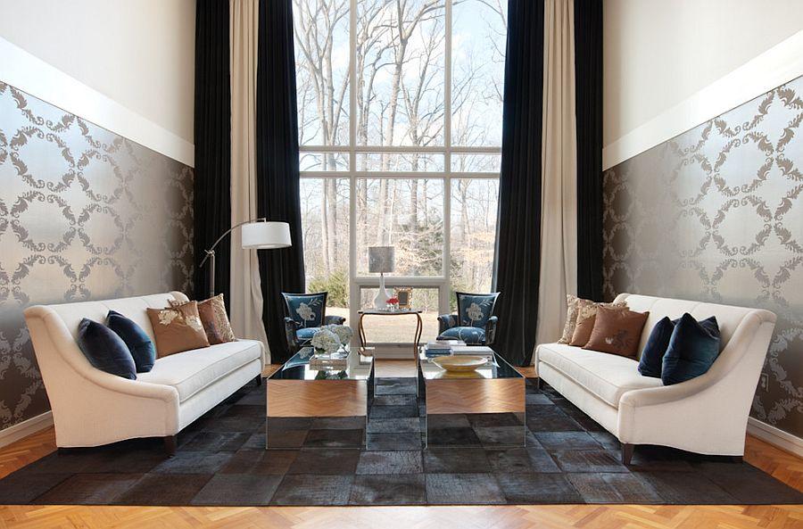Тёмные шторы в интерьере дома - симметрия