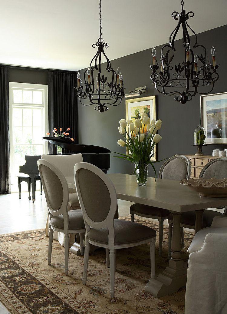 Тёмные шторы в интерьере дома - ретро-стиль
