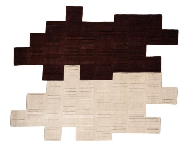 Двухцветный ковер геометрической формы из шелка и шерсти