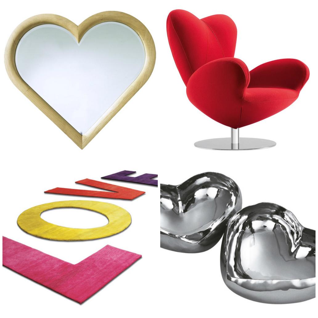Креативные элементы декора и кресло в форме сердца