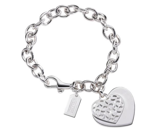 Серебряный браслет с подвеской - сердечко