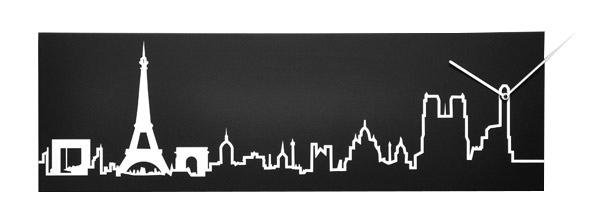 Прямоугольные часы с рисунком горизонта Парижа