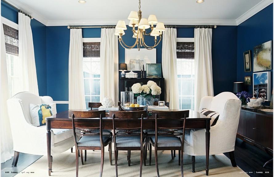 Столовая в бело-синем цвете