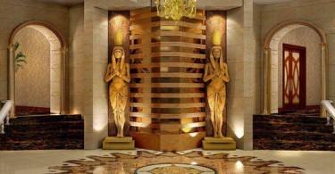 Прекрасное оформление интерьера в египетском стиле