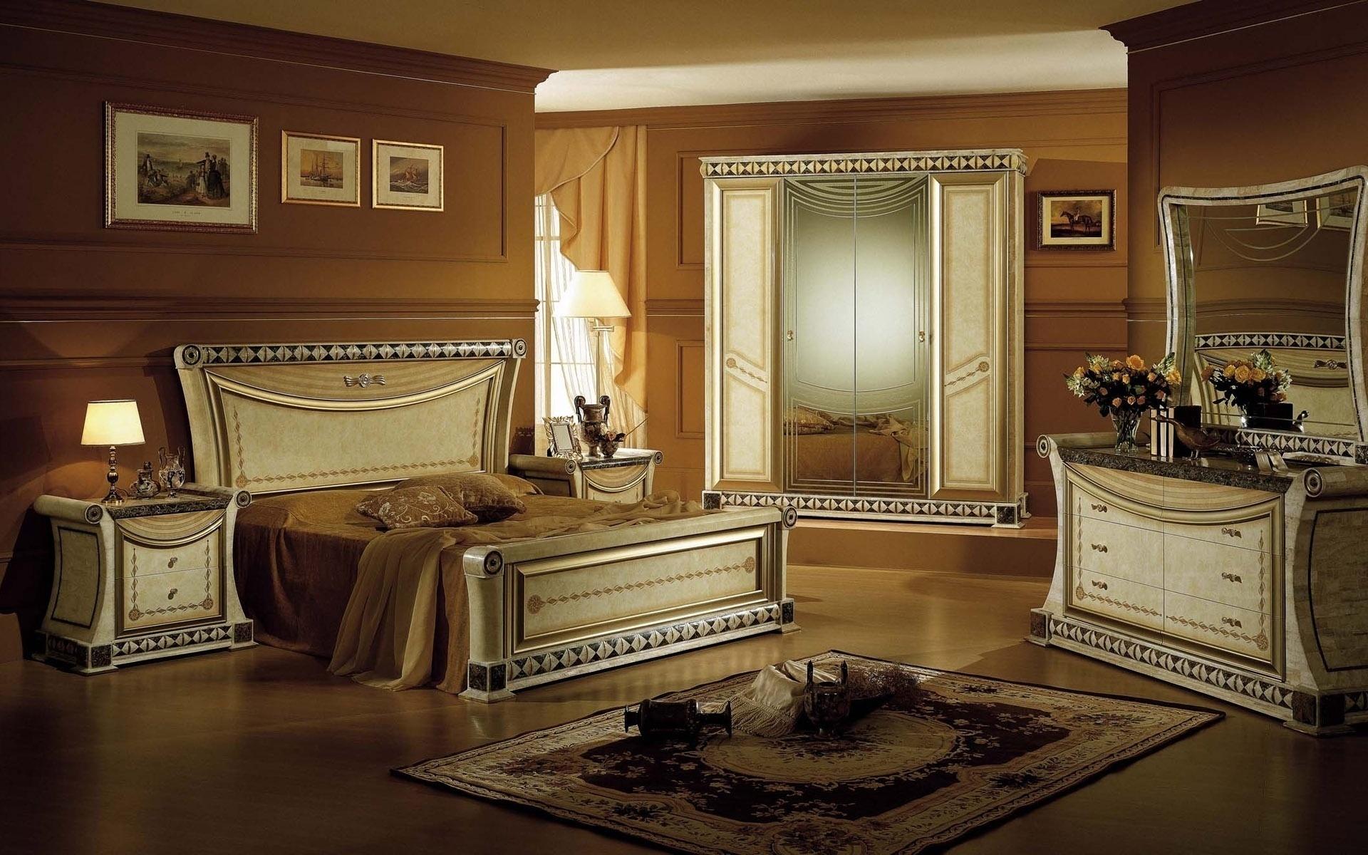 Ковер в интерьере спальной комнаты
