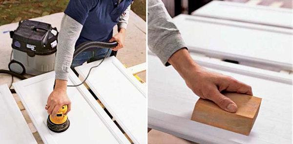 Процесс шлифовки фасадов шкафа
