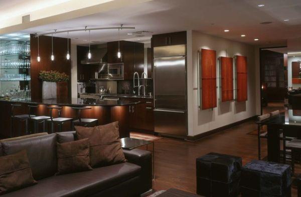 Шикарные подвесные лампы в интерьере помещения