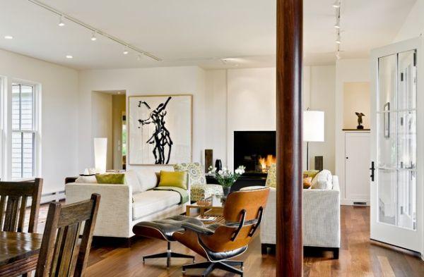 Прекрасные подвесные лампы в интерьере помещения