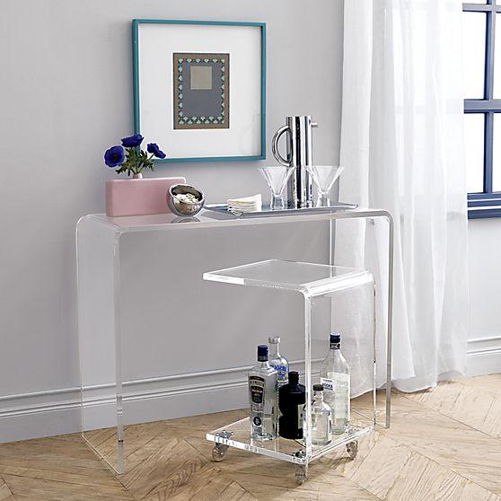 Стильный акриловый столик-барная тележка