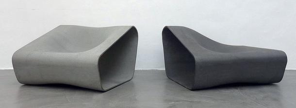 Двухцветный модульный диван из цемента