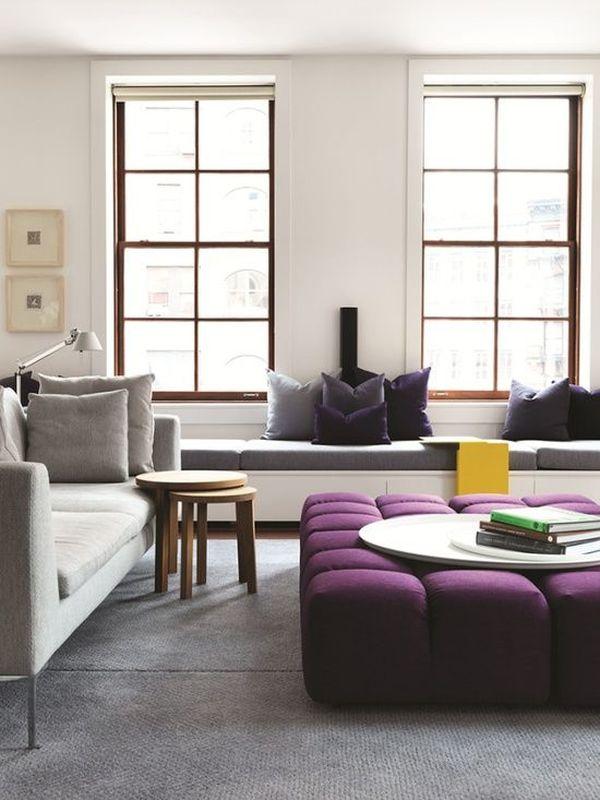 Мягкий журнальный столик насыщенного сиреневого цвета