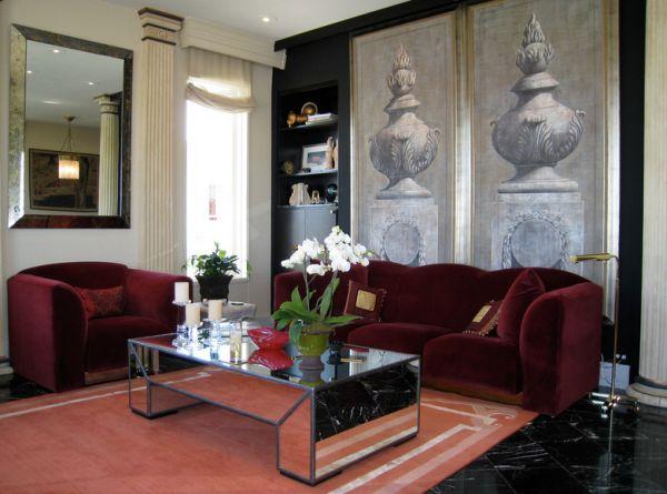 Роскошная бархатная мебель в гостиной