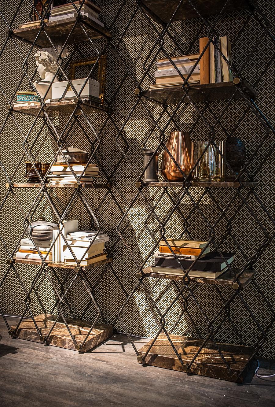 Геометрические стеллажи в оформлении гостиной