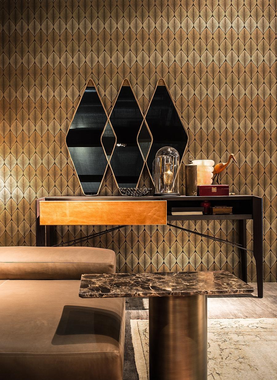 Красивые геометрические зеркала в оформлении гостиной