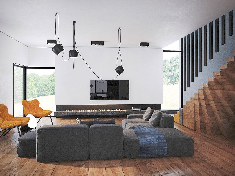 Современная гостиная с камином в Trendy Contemporary Home