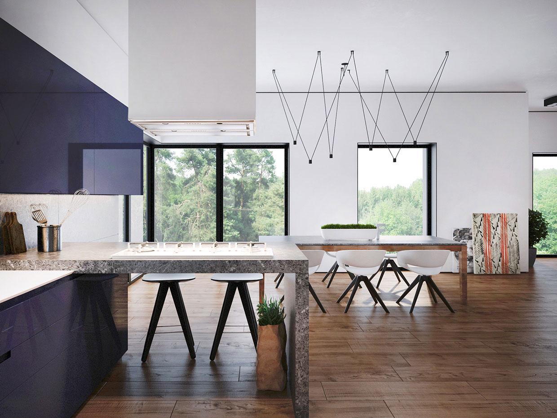 Кухня со столовой зоной в современном стиле