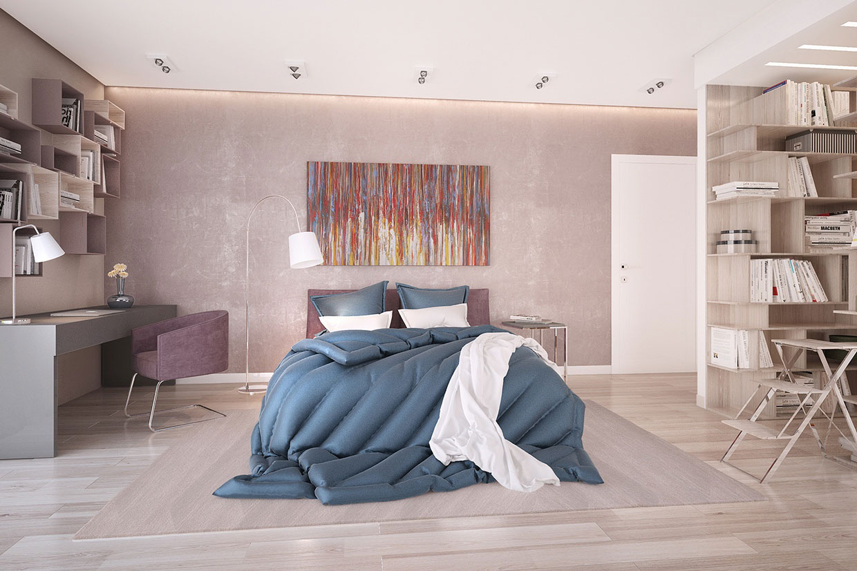 Современная картина в интерьере спальни