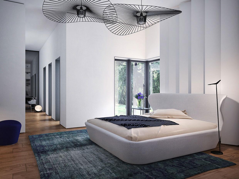Изогнутые светильники в интерьере спальни