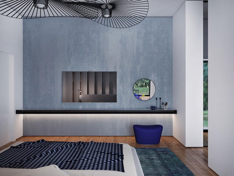 Синяя стена спальни