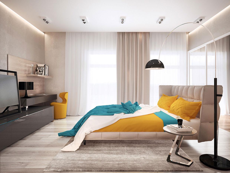 Яркий дизайн современной спальни