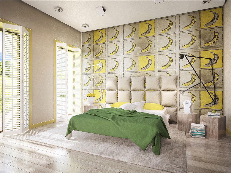 Необычное оформление стены спальни
