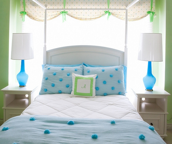 Голубые лампы в дизайне интерьера