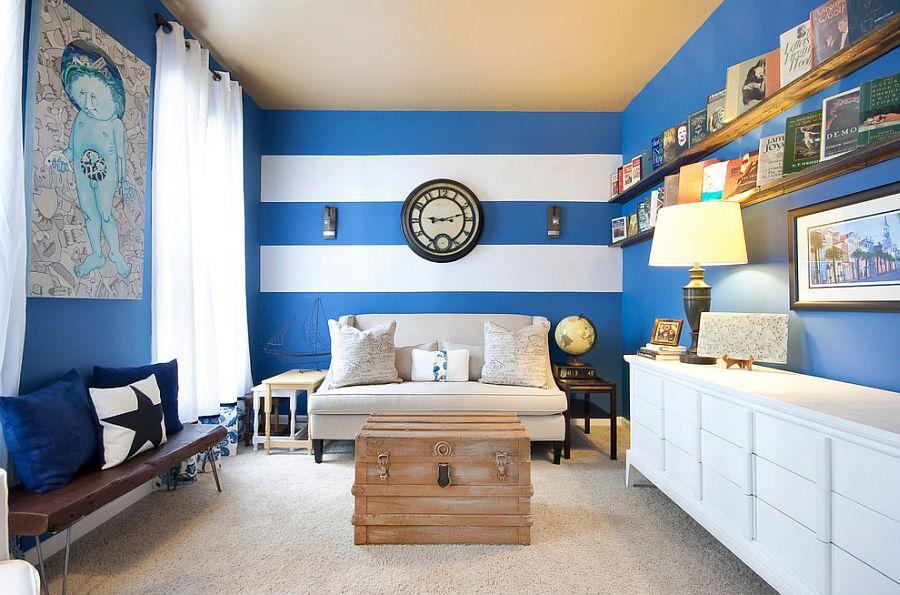 Голубые обои для стен в интерьере фото