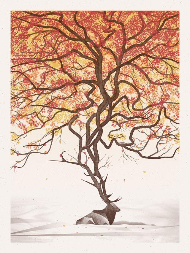 Нарисованное дерево The Elk в программе фотошоп
