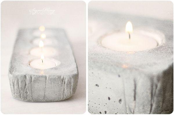 Подставка под свечи из бетона