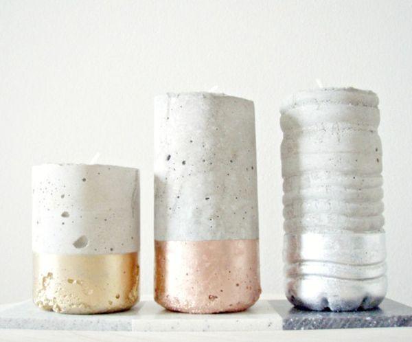 Бетонные подсвечники в форме бутылок