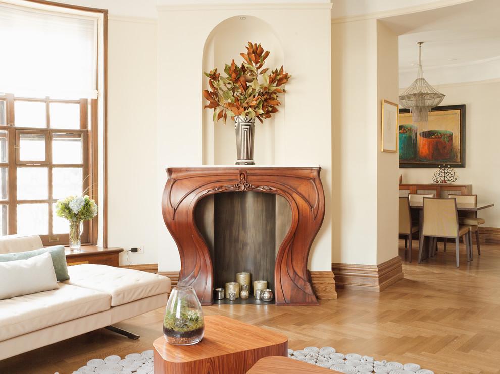 Светлое оформление интерьера помещения в стиле ар-нуво