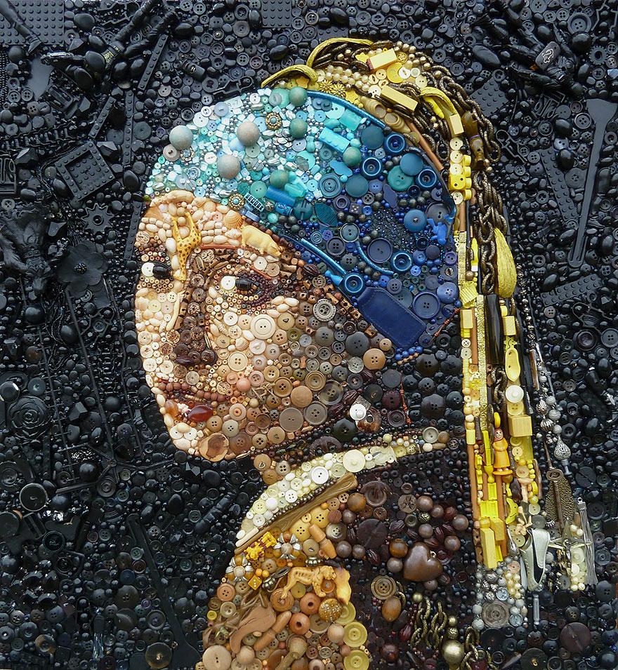 Необычная картина Яна Вермеера «Девушка с жемчужной серёжкой» в исполнение Джейн Перкинс
