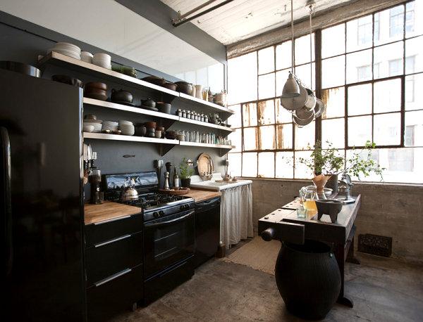 Красивый интерьер кухни в стиле лофт