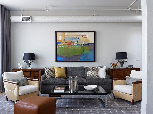 Прекрасный интерьер гостиной в стиле лофт