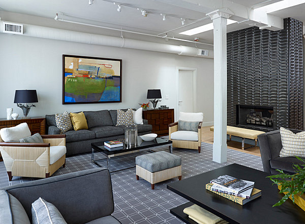 Восхитительный интерьер гостиной в стиле лофт