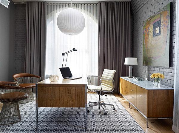 Бесподобный интерьер кабинета в стиле лофт