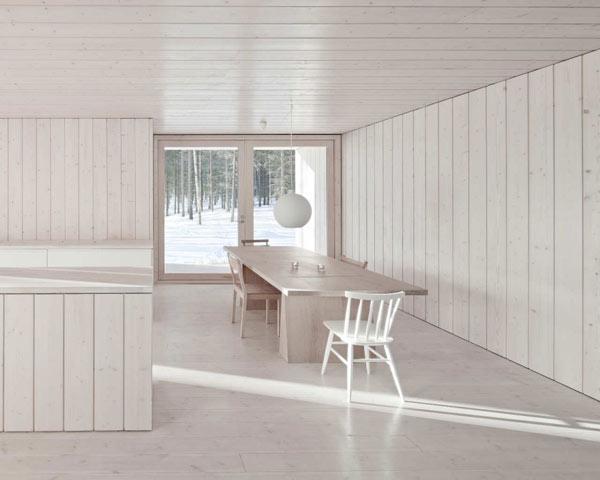 Деревянные стены белого цвета в интерьере
