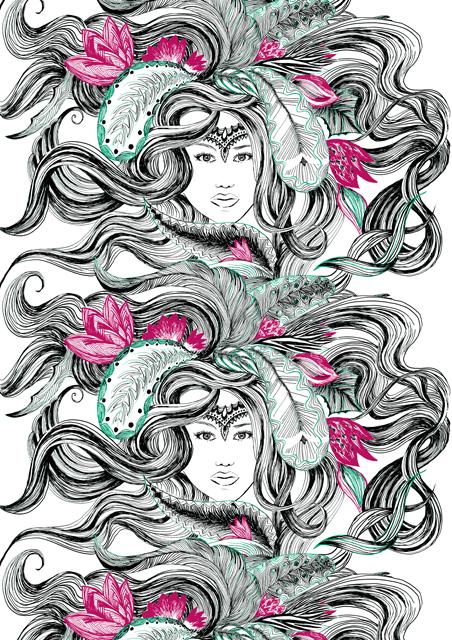 Ткань с рисунком девушки из коллекции Vallila 2012