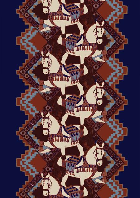 Орнамент на ткани в виде лошадей из коллекции Vallila 2012